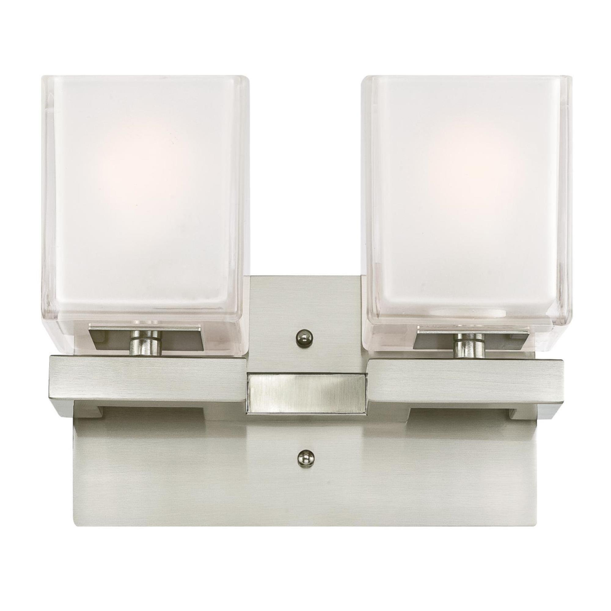 Westinghouse 6332300 Nyle Indoor Wall Fixture, Brushed Nickel Finish with Glazed Ice Block Glass, Two Light
