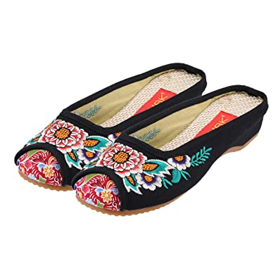 d3ca366e7 CINAK Embroidered Flower Women's Shoes Backless Mules Comfortable Home Flats  Sandals Round Toe Slippers ...