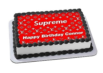 Supreme Louis Vuitton Nike Cake Topper Edible Image Personalized Birthday 1 4 Sheet Custom