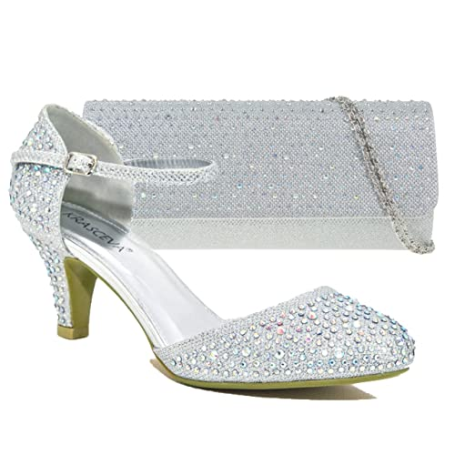 08f3aea803125f Absolutely Gorgeous Boutique Womens Silver Mid Heel Diamante Wedding  Evening Prom Party Shoes with Matching Handbag