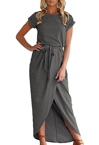 Verano Vestidos de Playa Mujer con Cinturón Hendidura Irregular Maxi Vestido de Partido Cóctel Fiesta Casual