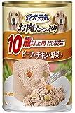 愛犬元気 缶 10歳以上用 ビーフ・チキン・野菜入り 375g×24個入 【ケース販売】