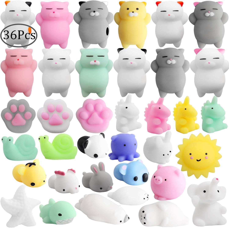 Outee 36 Pcs Mini Squishys Mochi Squishys Cat Toys Mochi