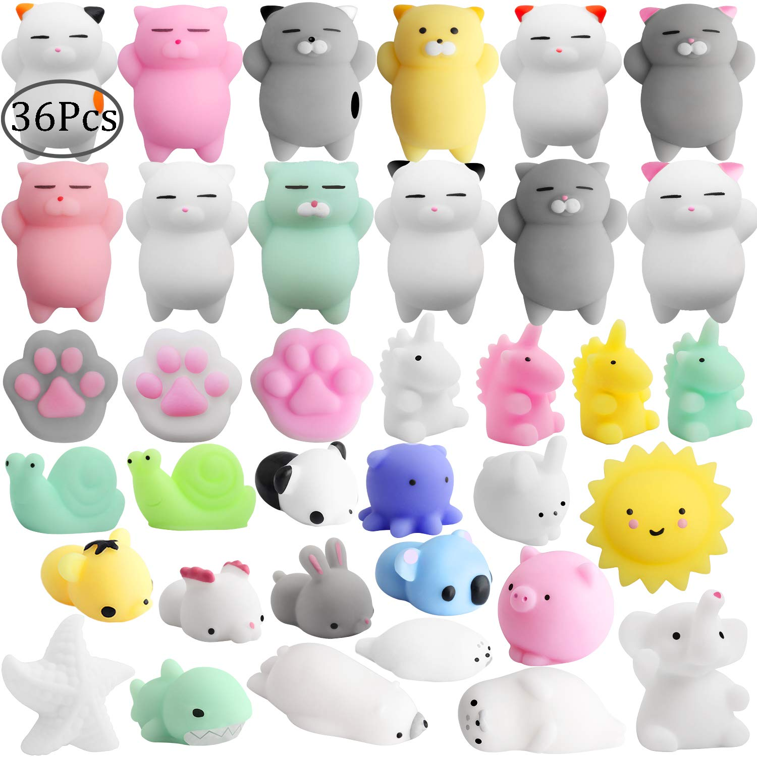 Outee Mochi Squeeze Cat Toys, 36 Pcs Mini Mochi Squishies Mochi Animal Cat Squishies Mini Squishies Stress Relief Animals Squihsy Squeeze Stress Cat Toys Mochi Squeeze Squishies Random by Outee