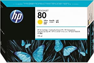HP 80 Yellow 175-ml Genuine Ink Cartridge (C4873A) for DesignJet 1000 Series Large Format Printers