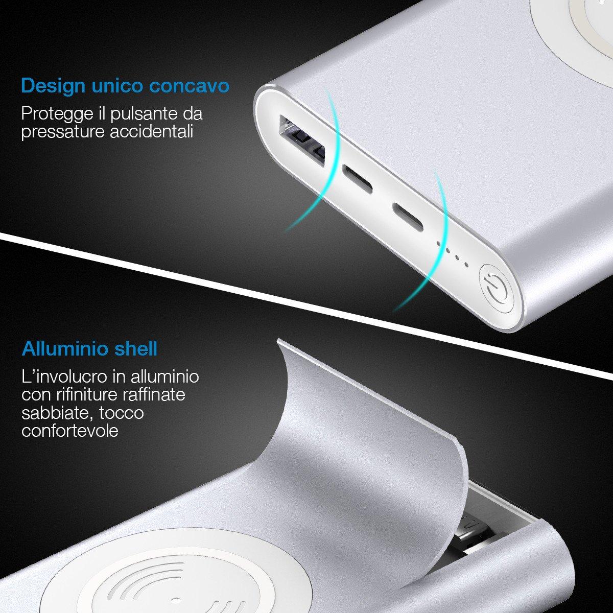 POWERADD Caricabatterie Senza Fili 10000mAh Entrata Lightning e Type-C, 2 Uscite con Ricarica Rapida da 3.4A Powerbank Wireless per iPhone X/ 8, Samsung Galaxy S9/ S8/ S7/ Note ecc. Argento