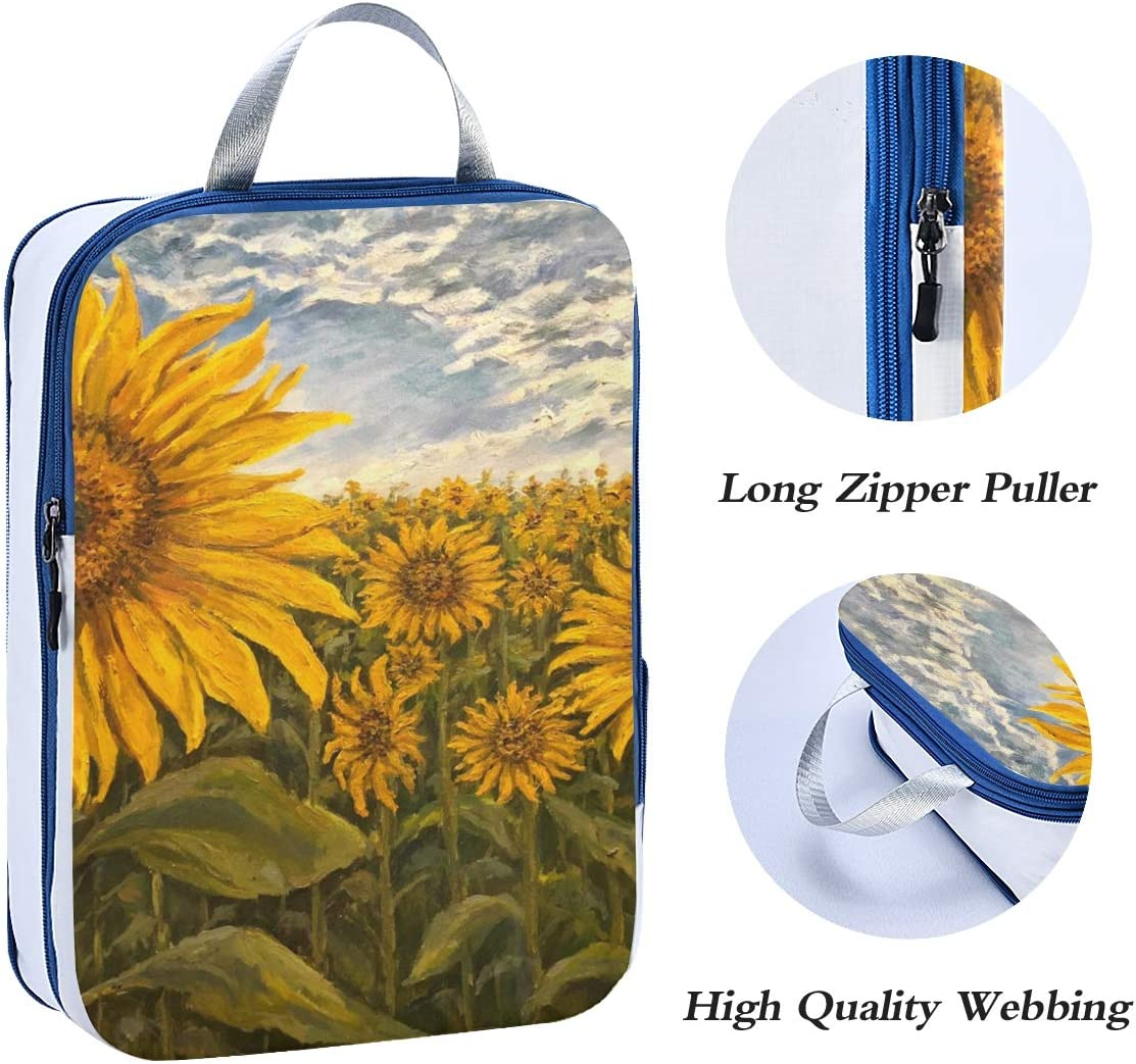 Landscape With Sunflowers 3 Set Packing Cubes,2 Various Sizes Travel Luggage Packing Organizers d