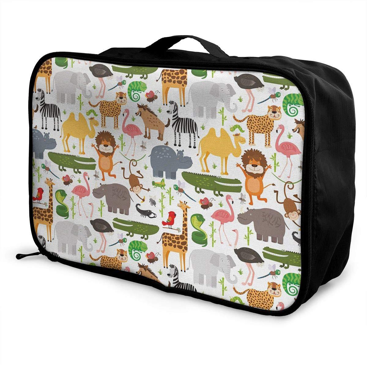 Children Cartoon Style Animal Canvas Travel Weekender Bag,Fashion Custom Lightweight Large Capacity Portable Luggage Bag,Suitcase Trolley Bag