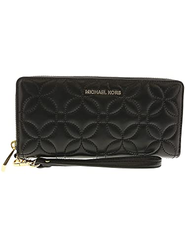817c993987aa Amazon.com  Michael Kors Quilted Floral Travel Continental Wallet BLACK  Michael  Kors  Shoes