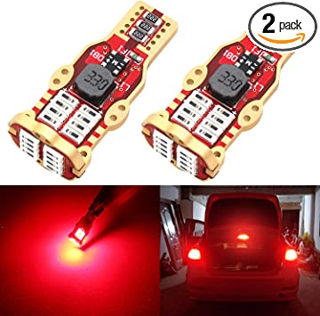 Phinlion 912 921 Red LED Center High Mount Stop Light Bulbs High Power 4014 24-SMD Chipsets 906 922 Bulb for 3rd Brake Light Replacement