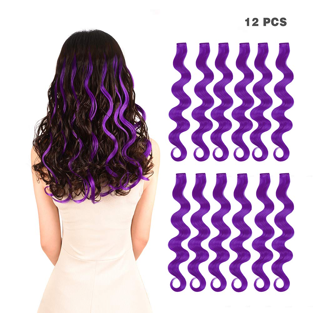 12 Pieces Party Highlights Clip In Colored Hair Extensions For Kids Girls Colorful Hair Extensions 22 Inches Curly Wavy Synthetic Hairpieces