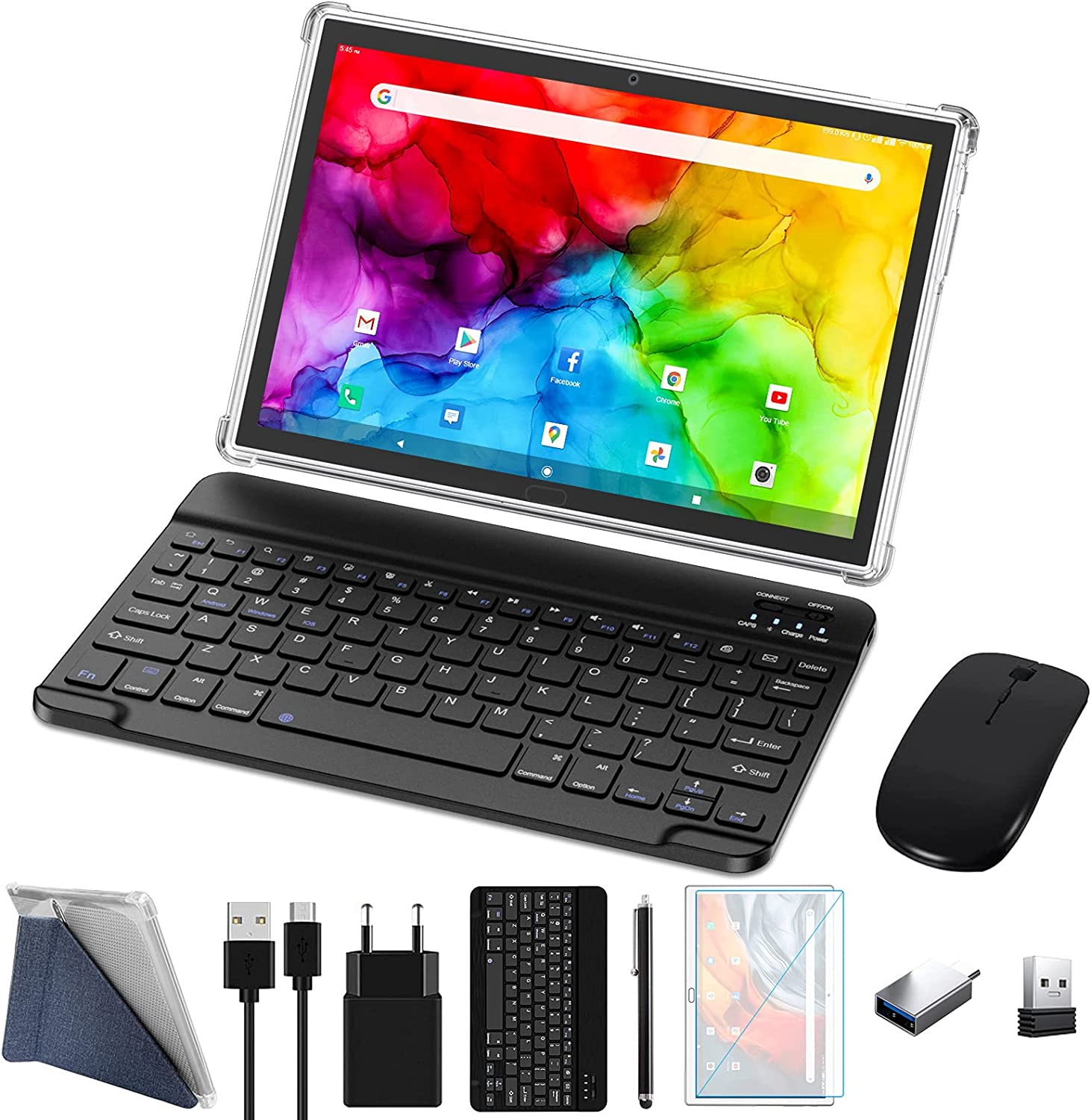 ZONKO Tablet 10 inch 4G Phone Tablet with Dual Sim Card Slot Android 10 Tablet PC, 4GB+64GB Storage Octa-Core Processor,13MP Dual Camera, WiFi Tablet with Keyboard, Wireless Mouse, Stylus(Grey)