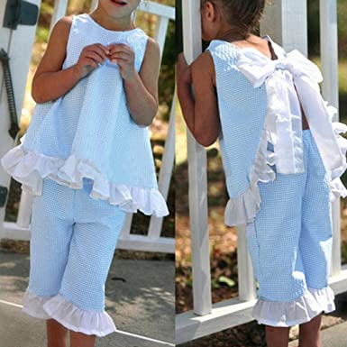 4f58759a59 WensLTD 2PCS Kids Baby Girls Cute Bow Vest Top + Shorts Pants Clothes  Outfits (2T