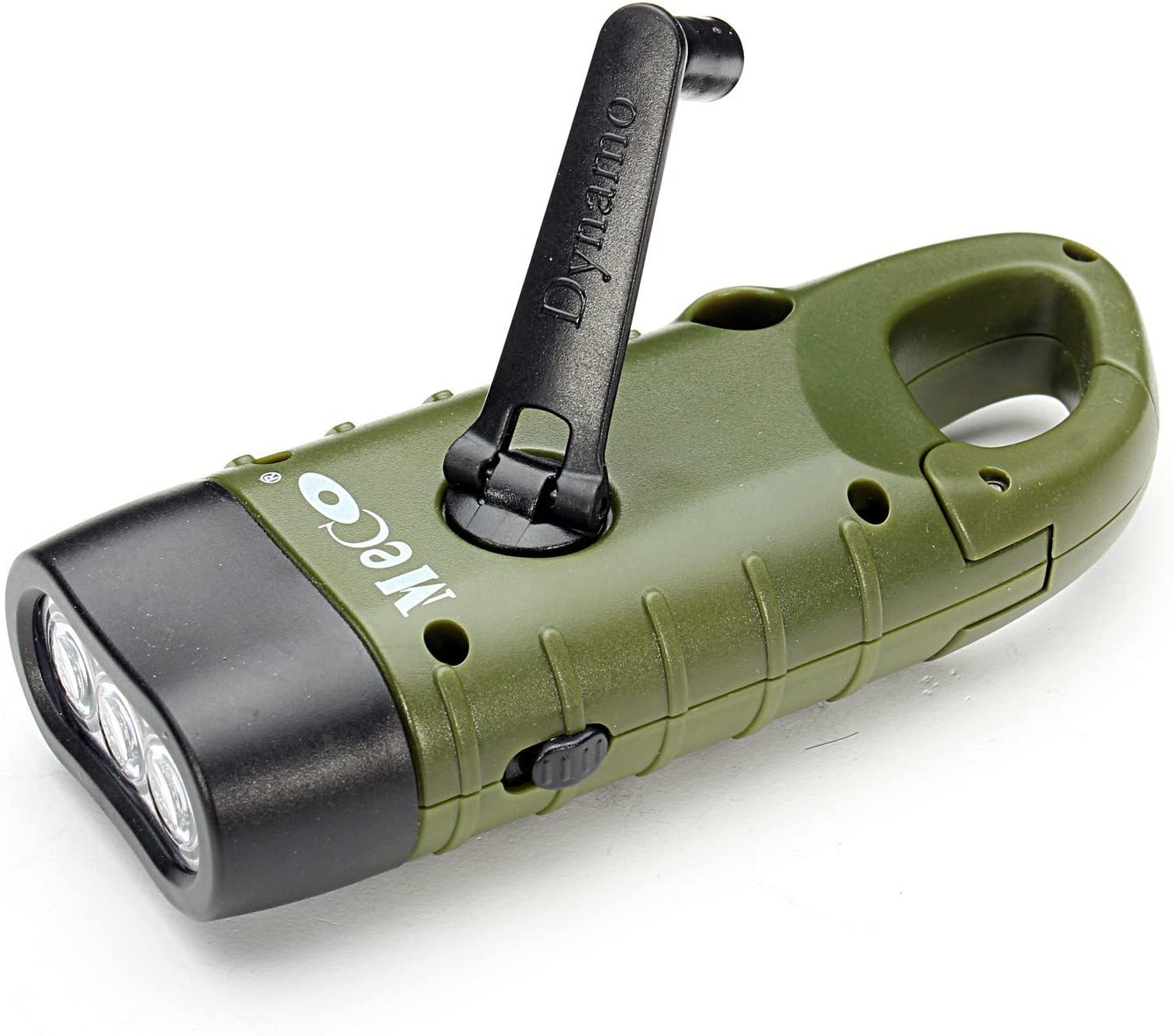 Image of a MECO handcrank flashlight in moss green color.