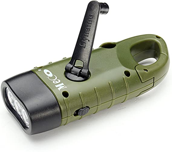 Solar Powered Hand Crank Flashlight Rechargeable LED with Clip Emergency Light S
