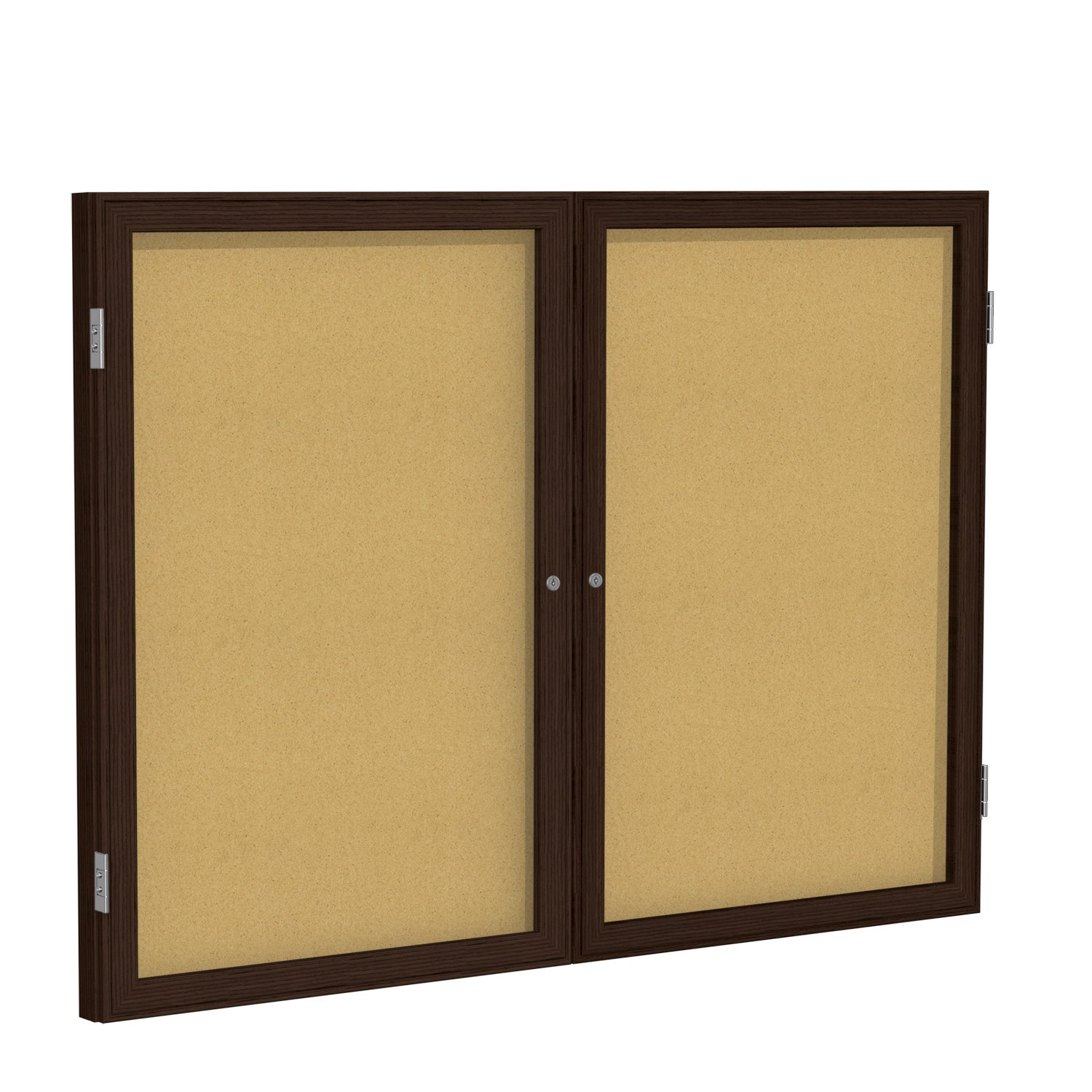 Case of 5, 36''x48'' 2-Dr Wood Frame Walnut Finish Enclosed Bulletin Board - Natural Cork