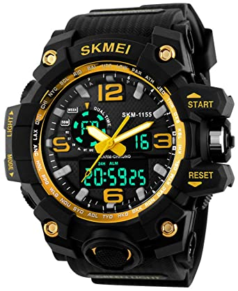 17e364f37dc Buy Gosasa Big Dial Digital Watch S SHOCK Men Military Army Watch Water  Resistant LED Sports Watches Yellow Online at Low Prices in India -  Amazon.in