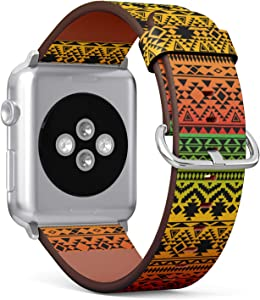 S-Type iWatch Leather Strap Printing Wristbands for Apple Watch 4/3/2/1 Sport Series (42mm) - Colorful Gradient Rasta Tribal Vintage Ethnic Seamless Pattern