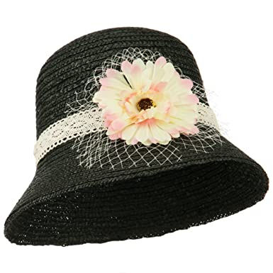6acf3cf0cec Wheat Braid Flower Veil Dress Hat - Black OSFM at Amazon Women s ...