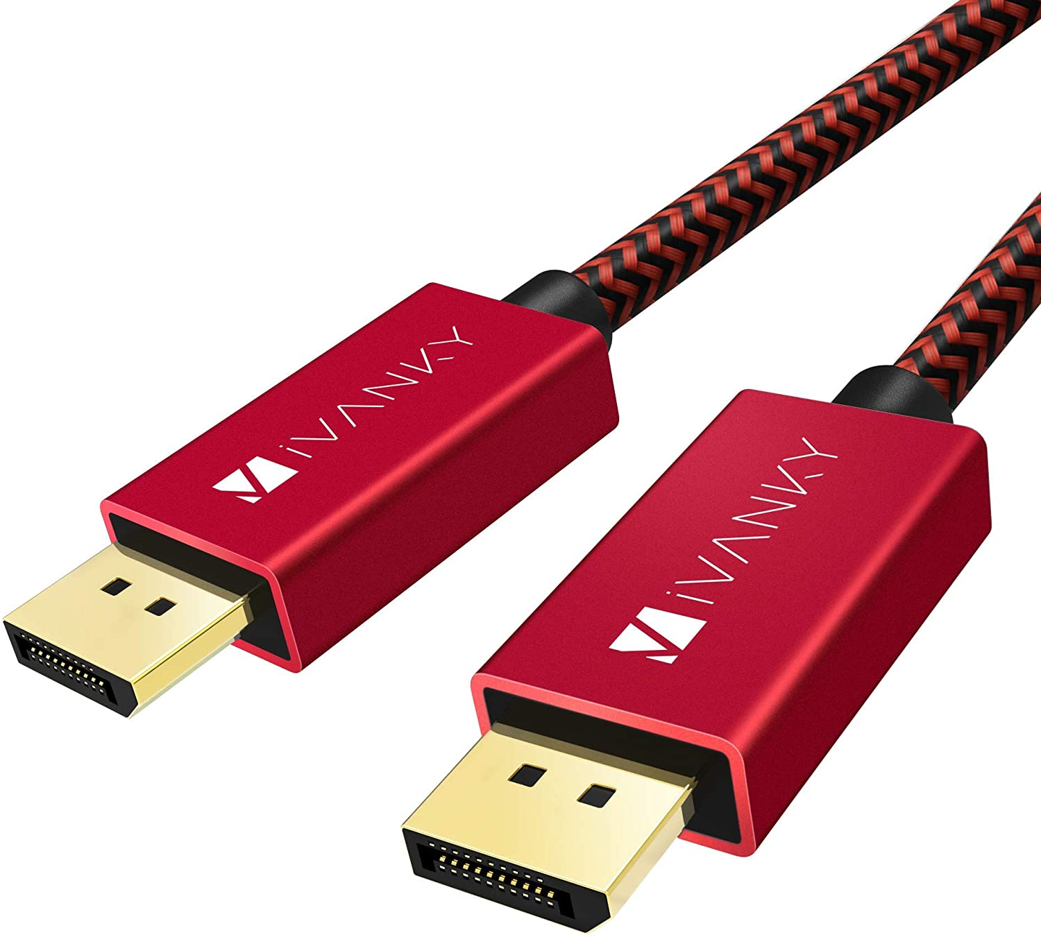 DisplayPort 1.2 Cable 6.6ft, iVANKY 4K DisplayPort to DisplayPort Cable Nylon Braided, High Speed DP Cable, Supports 4K@60Hz and 2K@165Hz, Compatible with PC, Laptop, TV - Red
