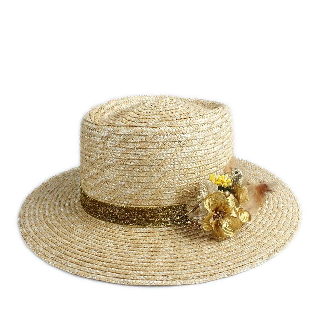 SHENTIANWEI Summer Sun Hat Wheat Ladies Beach Hat Fashion Floral Feather Decoration Luxury Graceful Sun Hat Panama Flat Cap