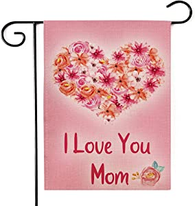 PINCHUANG Happy Mother's Day Garden Flag - Double Sided Home Decorative Love Yard Burlap Banner