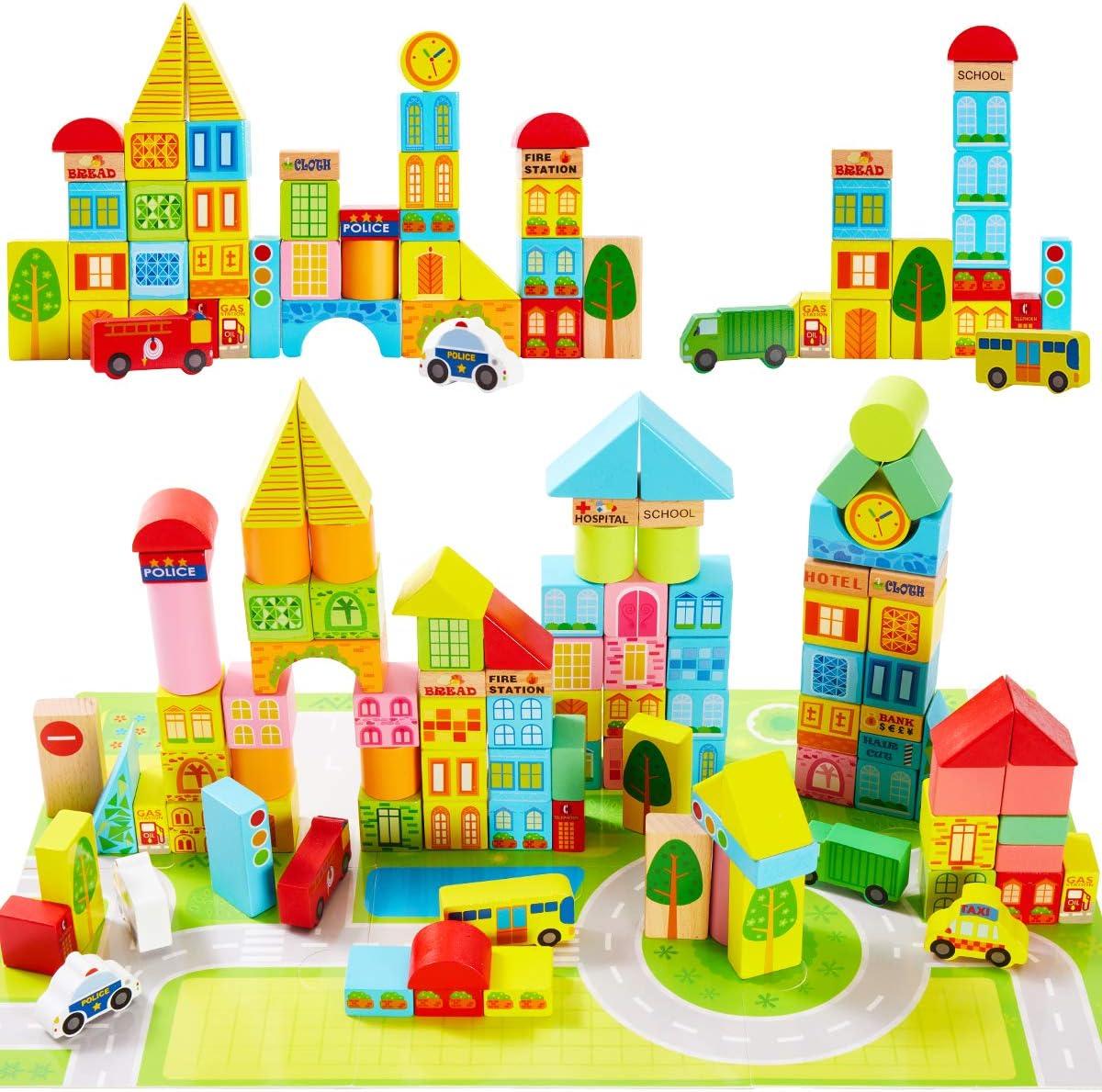 Onshine 100 Piezas Bloques Madera Construccion para Niños Puzzle Coloridos Señales de Trafico de Juguete Juegos Educativos para Niños 3 4 5 6 Años