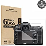 (Pack of 3) Tempered Glass Screen Protector For Nikon D7100 D7200 D800 D800e D810 D750 D600 D610 D500, Akwox [0.3mm 2.5D High Definition 9H] Optical LCD Premium Glass Protective Film