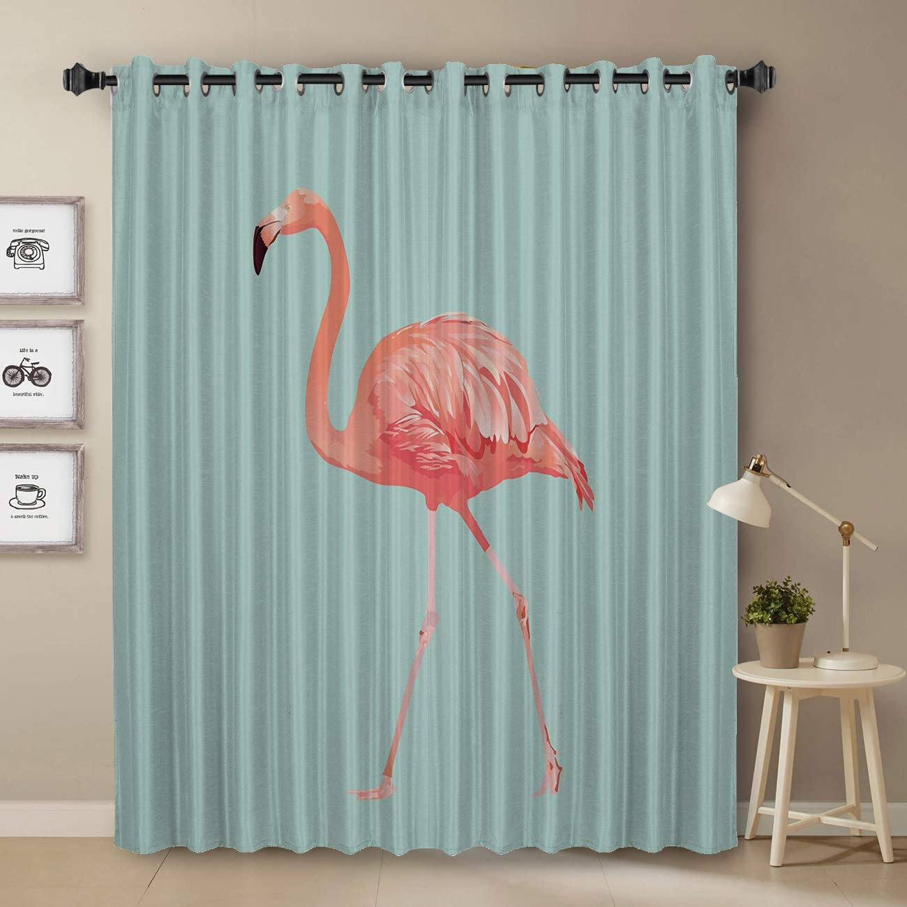 Blackout Window Curtains 52 W by 36 L Tropical Flamingo Print Grommet Thermal Insulated Room Darkening Curtains for Bedroom