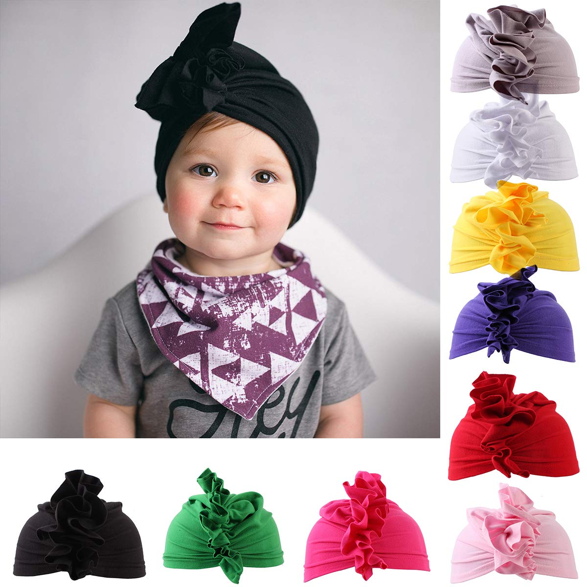 631335fdd9dde Amazon.com: Toddler Baby Girl Hat Baby Headband Pure Color Ruffled ...