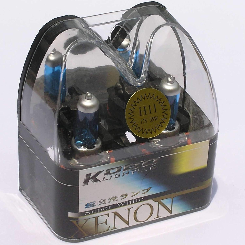 SAISDON- H11 55W 12V 6000K Hid Headlight Halogen Bulbs Kobo Blue Tint White Xenon Super Gas Charged 1009 1 Set 1 Pair