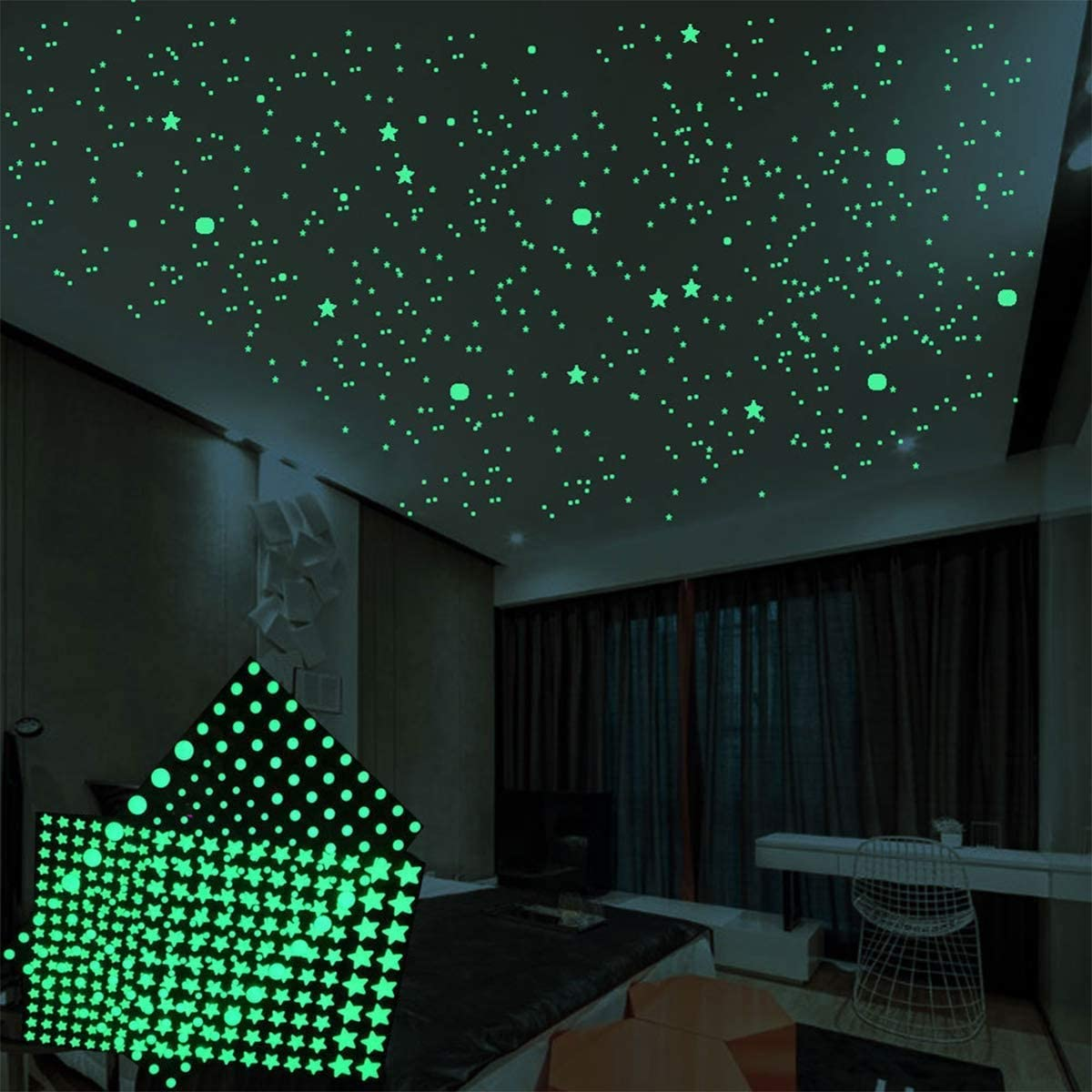 Realistic 3D Domed Glow in The Dark Stars, Glow in The Dark Stars for Ceiling or Wall Stickers .Perfect for Kids Bedding Room Gift (860PCS)