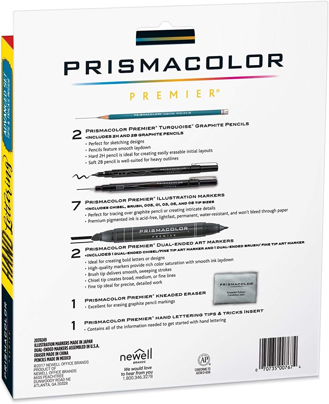 Prismacolor Premier Beginner Hand Lettering Set with Illustration Markers Pencils 8 Count Eraser and Tips Pamphlet Art Markers
