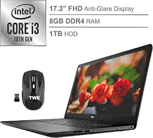 "Dell Inspiron 17 3000 17.3"" FHD Anti-Glare LED-Backlit Laptop, Intel Core i3-1005G1 up to 3.4GHz, 8GB DDR4, 1TB HDD, HDMI, 802.11ac, Bluetooth, Webcam, DVD-RW, Windows 10 Home, TWE Accessory"