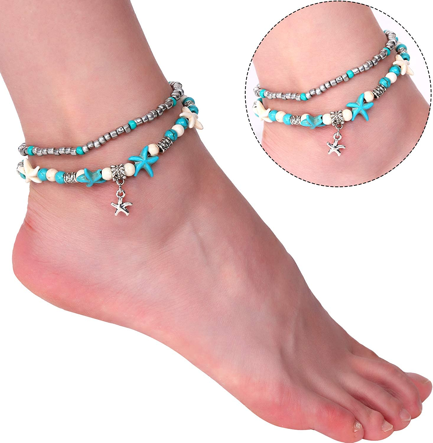 3 Pieces Beach Anklets Bracelets Turtle Ankle Chains Handmade Boho Layered Rope Anklets Jewelry for Women Girls Style 2