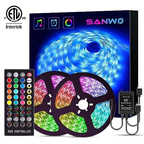 Led Strip Lights With Remote 32 8ft Rgb Led Light Strip Music Sync For Room Lighting 12v Smd 5050 Color Changing Tape Lights Kit With Led
