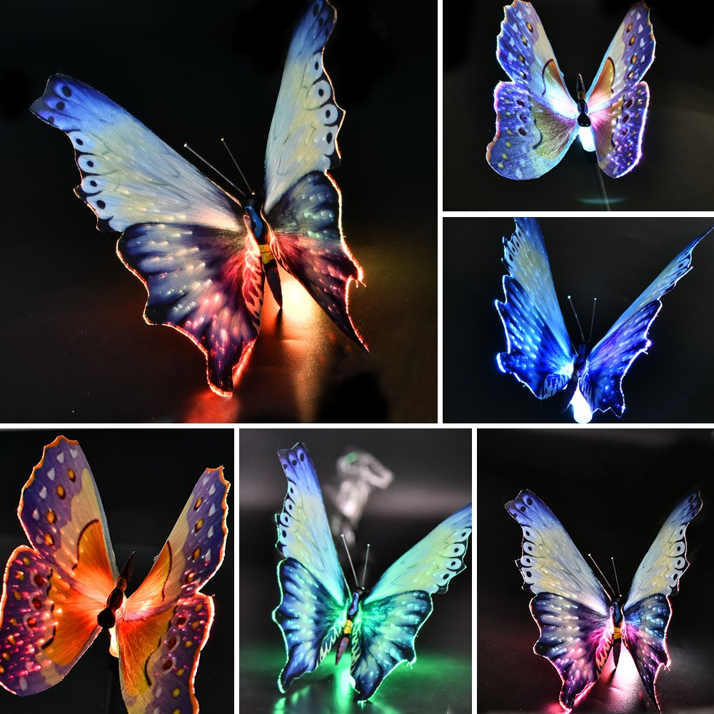 Solarmks Garden Solar Lights Outdoor Decorative Stake Lights ,Chameleon Multi-color Changing LED Fairy Garden Lights ,3 Pack Solar Fiber Optic Butterfly Garden Decorative Lights