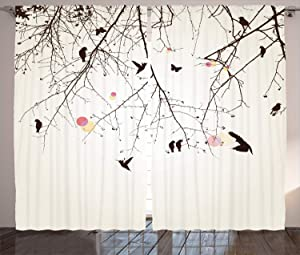 """Ambesonne Nature Curtains, Tree Branches Birds and Flowers Floral Spring Season Sunbeams Art, Living Room Bedroom Window Drapes 2 Panel Set, 108"""" X 96"""", Pink"""