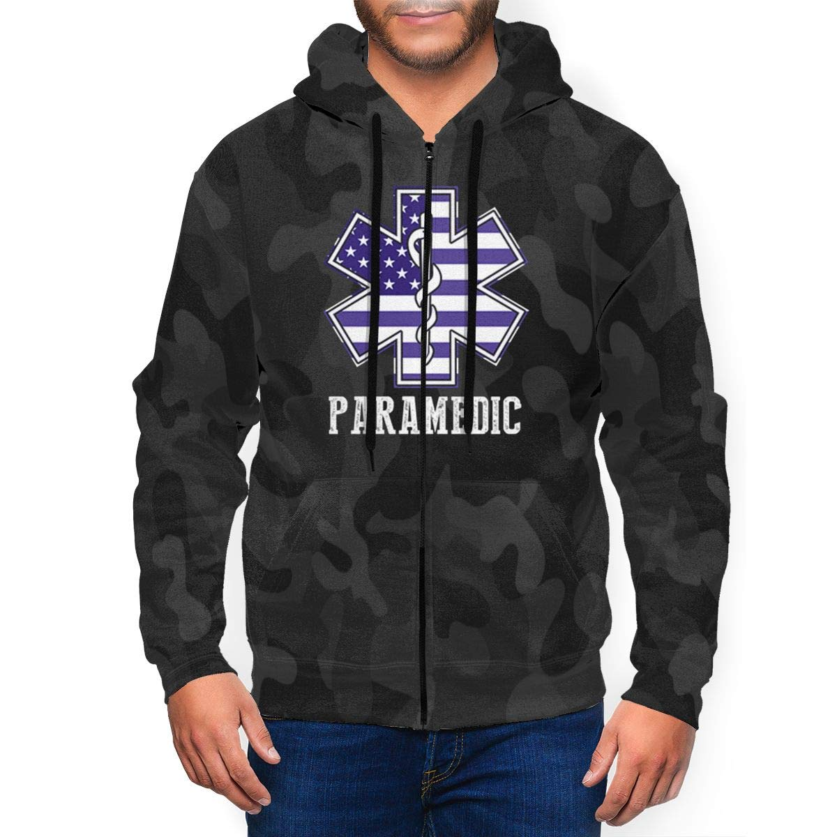 Longpaiyi Paramedic Usa American Flag Ems 3d Print Full Zip Pullover Hooded Fashion With P