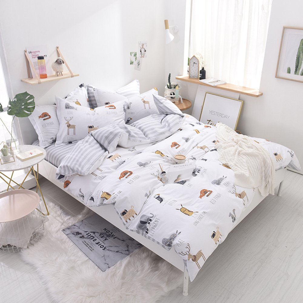 Enjoylife Cute Animal Reversible 3pcs Bedding Set Printing Cartoon Cute pet Duvet Cover Super Soft for Children/Adults 100% Cotton Comforter Cover Full Queen Size by EnjoyLife Inc (Image #2)