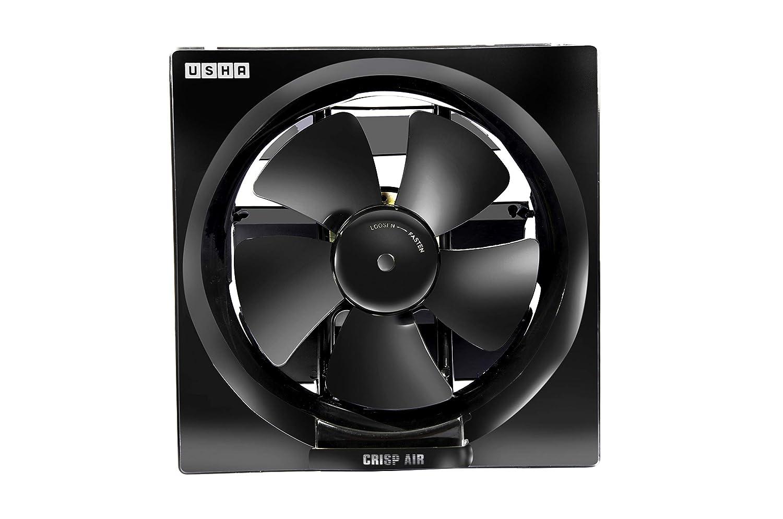 Usha Crisp Air 200mm Sweep Size, 300mm Duct Size Exhaust Fan (Black)