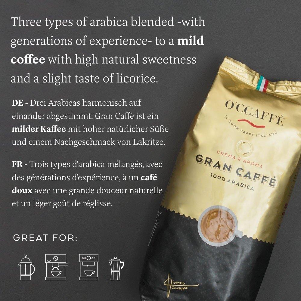 O\'ccaffe Caffè 100% Arabica | torrefazione extra delicata | dall\'azienda di famiglia italiana | carattere adorabile e complesso da 3 varietà di fagioli | 1kg chicchi di caffè