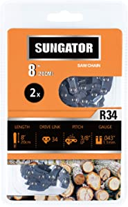 """SUNGATOR 2-Pack 8 Inch Chainsaw Chain SG-R34, 3/8"""" LP Pitch - .043"""" Gauge - 34 Drive Links Fits Poulan, Remington and More"""