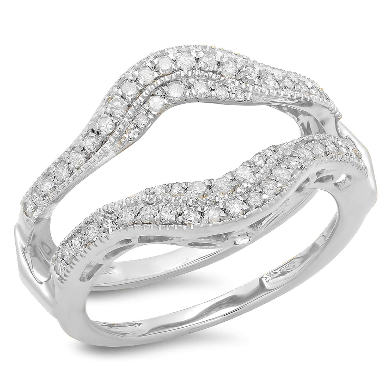 Dazzlingrock Collection 0.52 Carat (ctw) 14K White Diamond Ladies Wedding Enhancer Guard Ring 1/2 CT, White Gold, Size 6.5