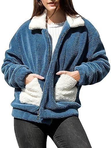 Sharemen Womens Winter Warm Faux Fur Coat Long Sleelve Patchwork Cardigan Knitwear with Pockets