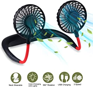 Portable Hanging Neck Sports Fan USB Rechargeable Hands-Free Wearable Neck Fan Upgraded Personal Cooling Device with 7 Colors of Changing Led Light, 360° Free Rotation, Lower Noise, 3 Speed Strong Airflow Fan for Running, Office, Home, Outdoor, Travel Black-Red
