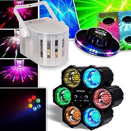 Pack Derby DJ blanco con leds RGBW 4 x 3 W DMX + chenillard LED + ...