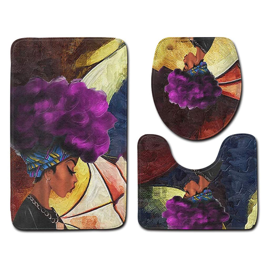 goldblue African Women with Purple Hair Soft Comfort Bathroom Mats Anti-Skid Absorbent Toilet Seat Cover Bath Mat Lid Cover 3pcs Set by goldblue