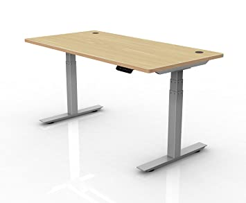 Ergopose U0026quot;ePou0026quot; Standing Electric Height Adjustable Desk Frame In  Gray (Top