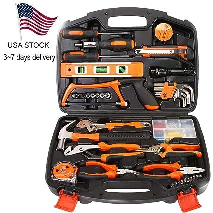 8ff3c224d7e PolarLander 100 PCS Household Tools Garden Home Tool Set Kit Box Repair  Hard Case DIY Handy - - Amazon.com